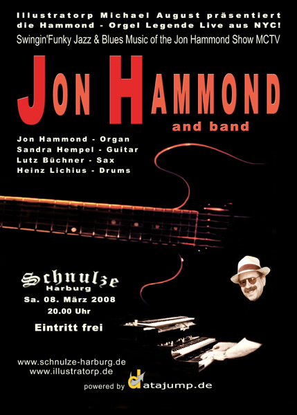 JON HAMMOND Band in Schnulze Harburg Germany art by ILLUSTRATORP