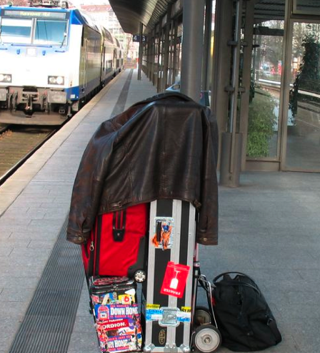 Jon Hammond Touring Pack on Train Track in Germany On-Tour