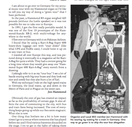 Jon Hammond in Allegro Local 802 Musicians Union Magazine April Issue 2008
