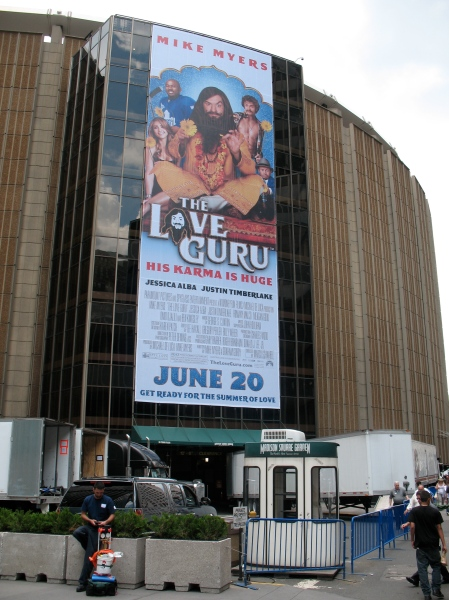 Giant Banner for opening of The LOVE GURU on Madison Square Garden